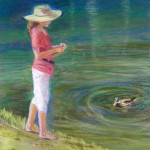 Muldowney N Feeding the Ducks 14x18 pastel